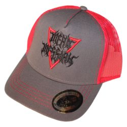 Trucker hat Gray Red with 3D Red Black Mean Messiah logo