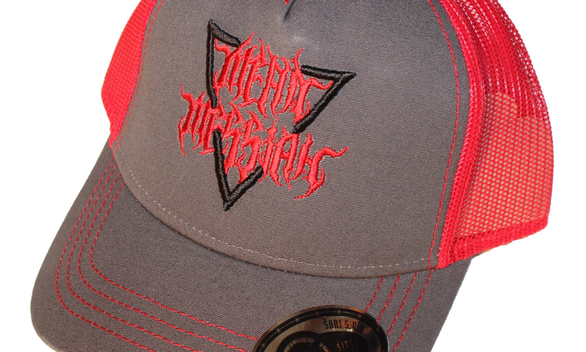 Trucker hat Gray Red with 3D Black Red Mean Messiah logo